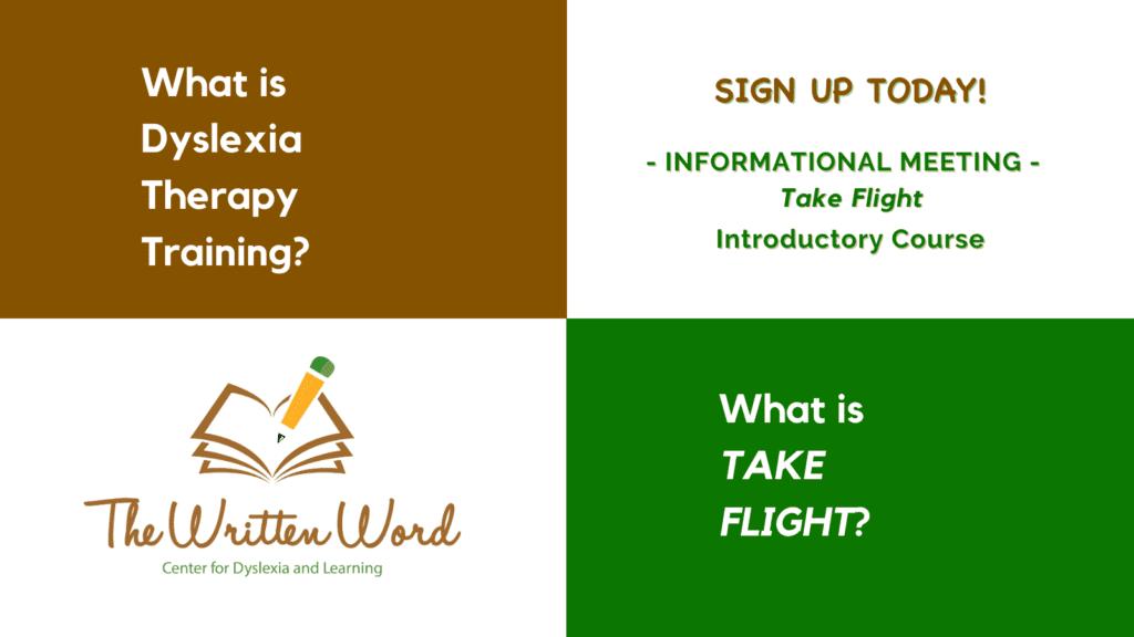 Dyslexia Therapy Training | Take Flight | The Written Word